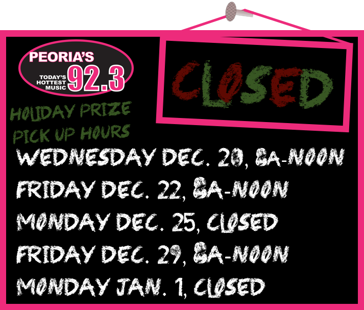 ZPW Prize Pickup Hours Holiday 2017
